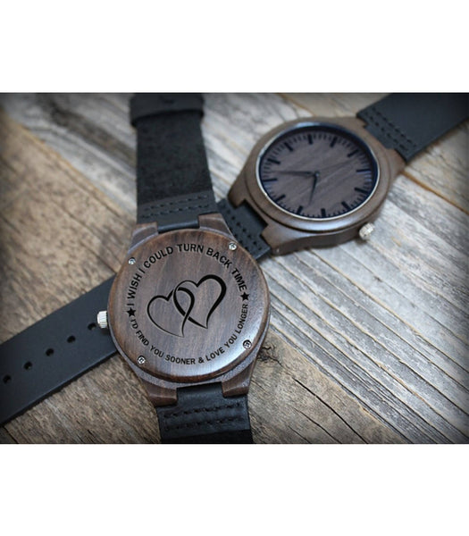 Wooden Watch - Dear Husband Love Wife Turn Back Time Engraved Wooden Watch