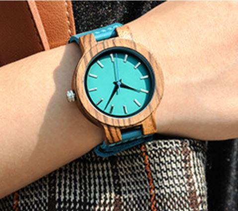 Wooden Watch - Mom To Daugther Always Remember Mommy Loves You Braver Stronger Than Believe Seem Engraved Fashionable Wooden Watch With Blue Leather Band