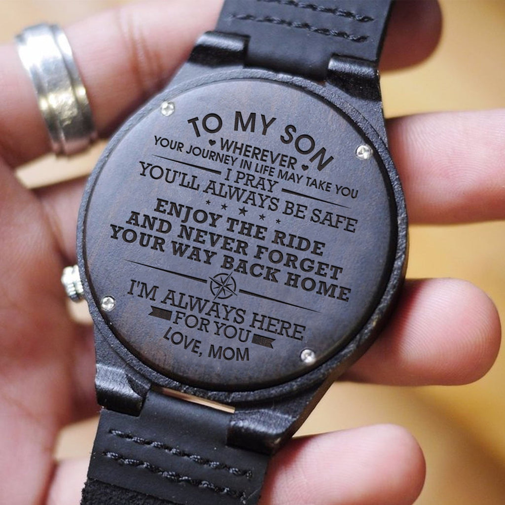 Wooden Watch - MOM TO SON I Pray You'll Always Be Safe Enjoy Ride Engraved Wooden Watch