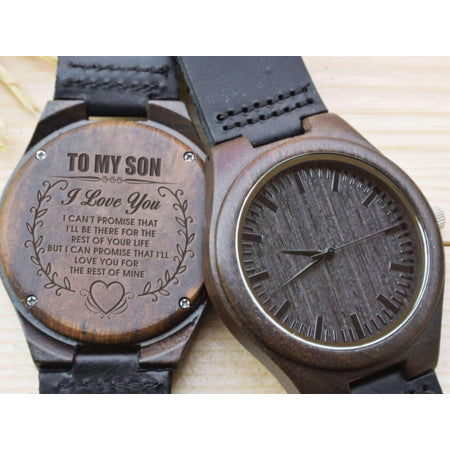 Wooden Watch - MOM TO SON Love You For The Rest Of Mine Engraved Wooden Watch