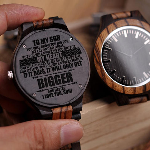 Wooden Watch - Mom To Son To My Son Grow Too Big For My Lap And Arms Never Too Big For My Heart My Sweet Baby Boy Never Change Engraved Wooden Watch Gift