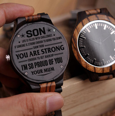 Wooden Watch - Mom To Son To My Son Life With Challenges Someone Bring You Down Show Them Strong Enough Get Back Up Proud Engraved Wooden Watch Gift