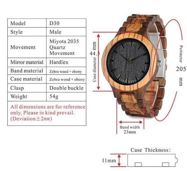 Wooden Watch - My Husband And My Children's Dad Engraved Zebra Wooden & Ebony Watch