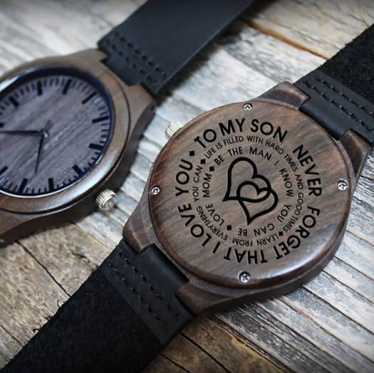 Wooden Watch - Son Love Mom Engraved Wooden Watch
