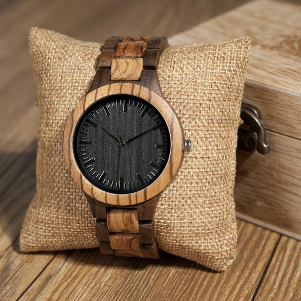 Wooden Watch - Wife To Husband I Loved You Then Love You Still Always Have And Will Engraved Zebra Wooden & Ebony Watch