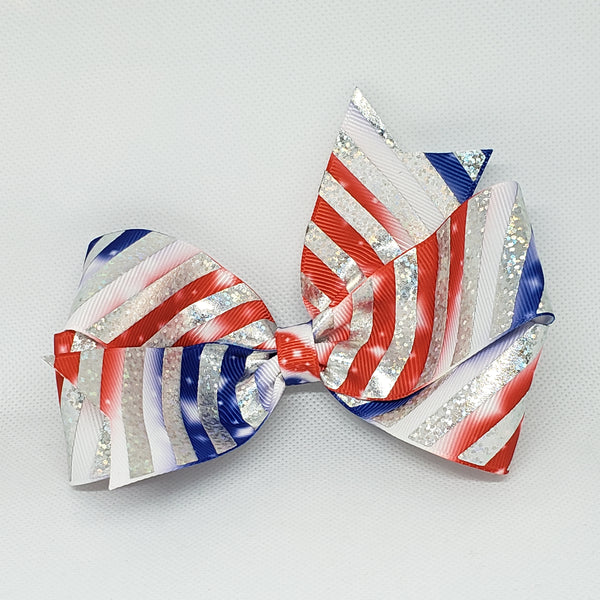 Red White and Blue [medium loop] silver foil Stripes