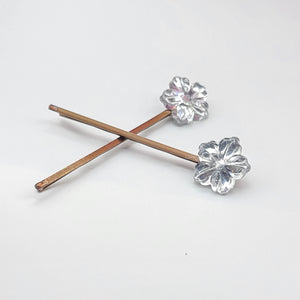 Silver flower [Bobby pin]
