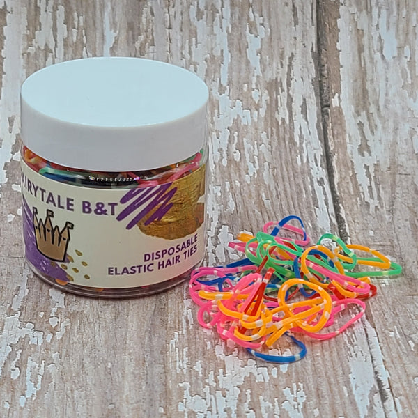 Bright color striped elastics jar
