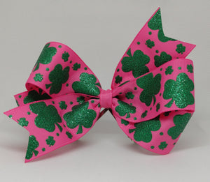Green Glitter Clovers on Hot Pink