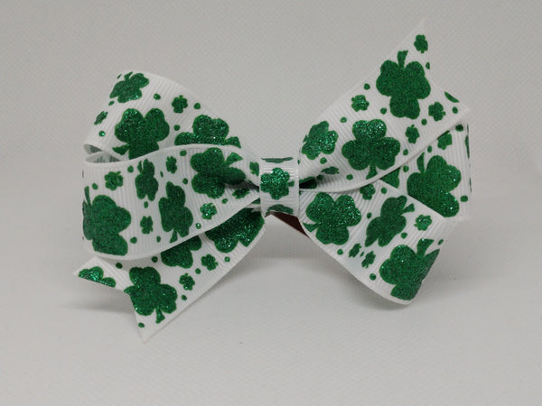 Green Glitter Clovers on White