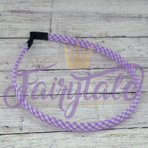 Purple Gingham Snap Resistant Headband