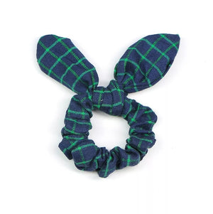 Green Plaid Bow Scrunchie