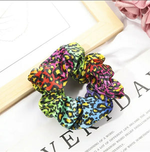 Rainbow leopard scrunchie