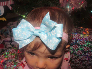 Blue Glitter Snowflake Small Loop