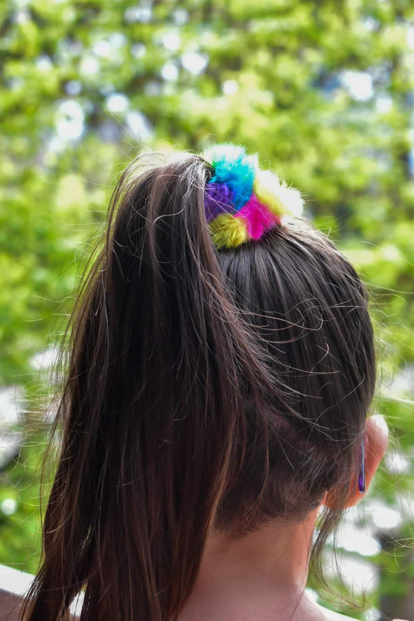 Rainbow faux fur scrunchie