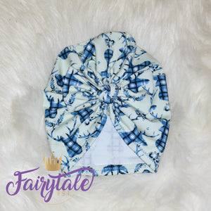 Winter plaid Deer Bow Turban