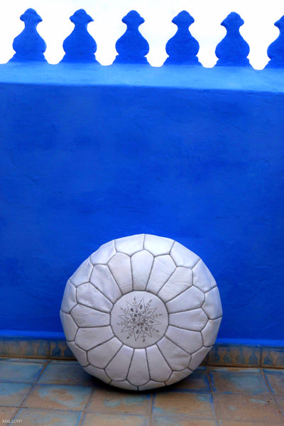 Premium Moroccan Leather Pouf Ottoman Pouffe Genuine WHITE & SILVER