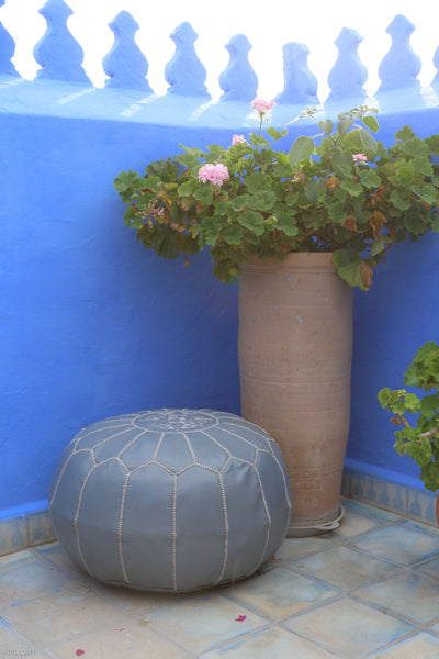 Moroccan Ottoman Pouf Marrakesh Poufs Grey Chefchaouen Handcrafted Leather