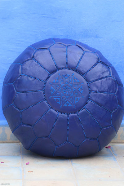 Premium Handmade Moroccan Leather Pouf Ottoman NAVY