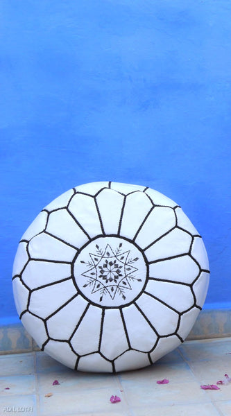 Premium Handmade Moroccan Leather Pouf Ottoman White & Black