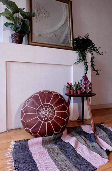 LIMITED EDITION Moroccan Leather Pouf Ottoman BROWNY