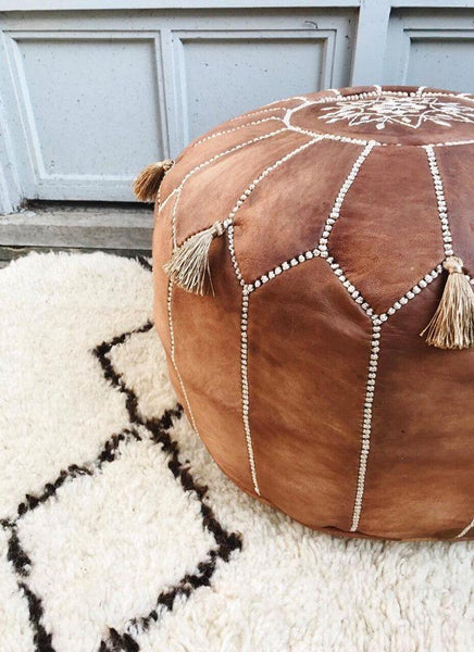 LIMITED EDITION Moroccan Leather Pouf Ottoman LADY