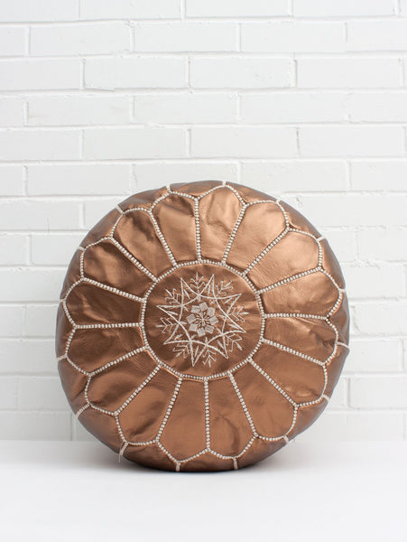 LIMITED EDITION Moroccan Leather Pouf Ottoman COOPER