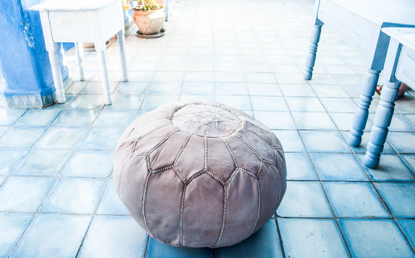 Premium Handmade Moroccan Leather Pouf Ottoman NATURAL (SLIGHT SECONDS)