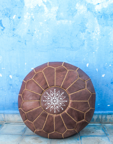 Moroccan Ottoman Pouf Marrakesh Poufs NATURAL TAN Chefchaouen Handcrafted Leather