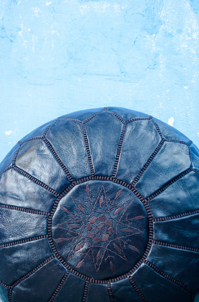 Moroccan Ottoman Pouf Marrakesh Poufs Chocolate Chefchaouen Handcrafted Leather