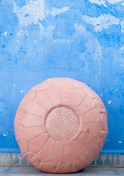 Moroccan Ottoman Pouf Marrakesh Poufs Rose Chefchaouen Handcrafted Leather