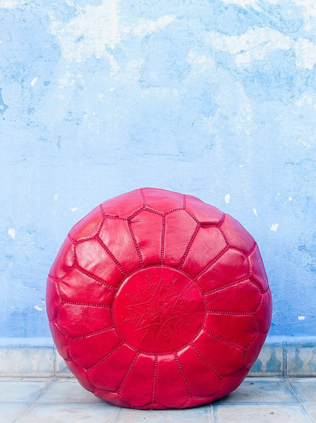 Moroccan Ottoman Pouf Marrakesh Poufs red Chefchaouen Handcrafted Leather