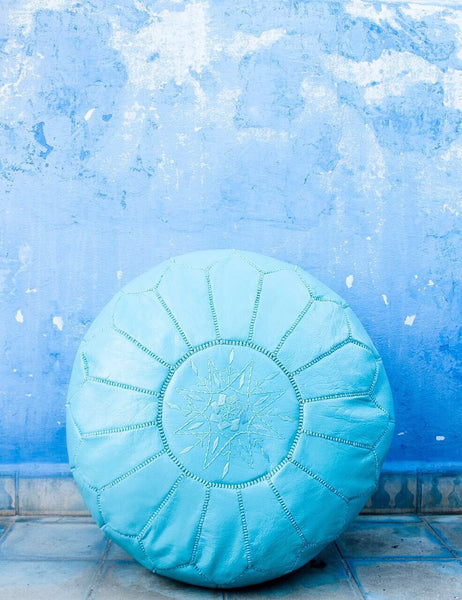 Moroccan Ottoman Pouf Marrakesh Poufs blue Chefchaouen Handcrafted Leather