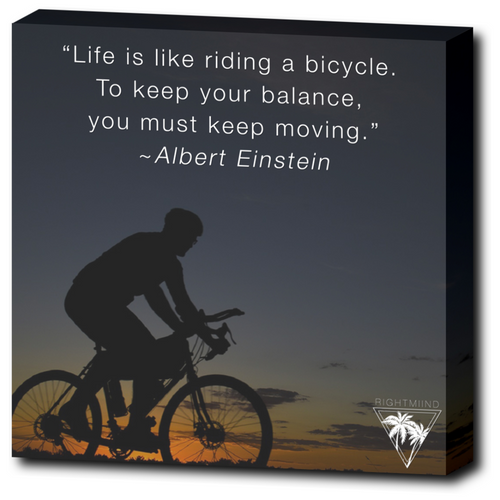 Albert Einstein Bicycle Canvas Wrap 12x12