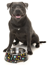 Fuzzyard Bel Air Easy Feeder Bowl features an exciting colourful retro design on a black background