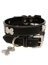 Black Leather Diamante Collar / Diamante Bone Charm & Lead Set