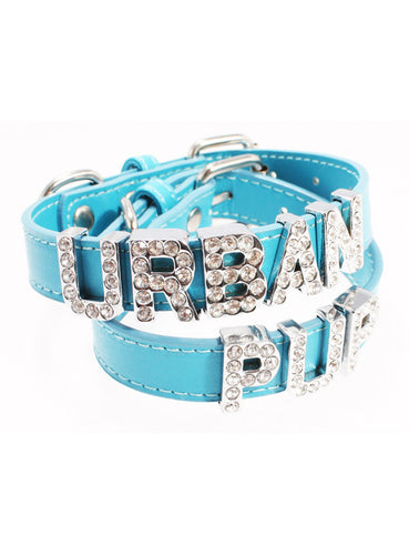 Blue Leather Personalised Dog Collar