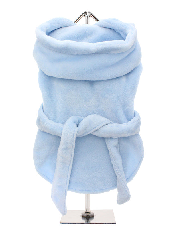 Smiley Myley, our new Super Soft and Plush & Fluffy Terry Bathrobe in blue from Urban Pup