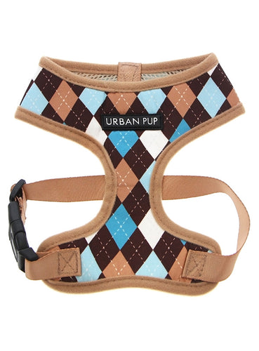 Brown and Blue Argyle Harness