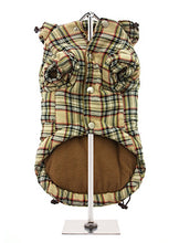 Brown Checked Tartan Quilted Coat