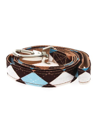 Brown & Blue Argyle Fabric Lead