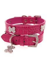 Bruiser's Legally Blonde Pink Leather Diamante Collar & Diamante Bone Charm