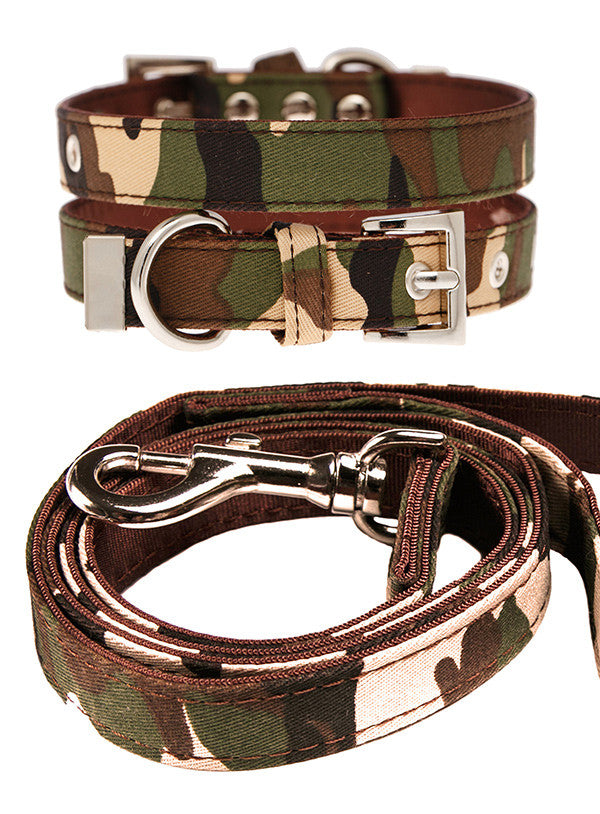 Camouflage Fabric Collar & Lead Set