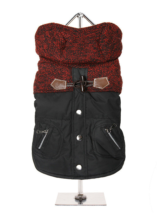Cheviot Tweed Black & Red Trimmed Parka