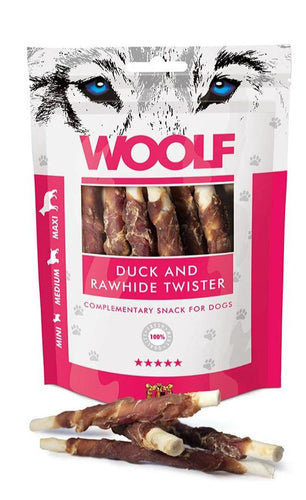 Woolf Duck and Rawhide Twister snacks are made of 100% high quality protein sources