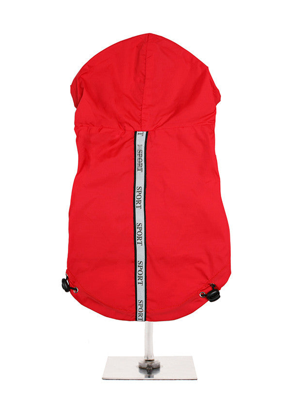 Here at Smiley Myley comes this lightweight windbreaker red sport jacket