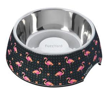 pet's favourite retro bowl design! Black melamine bowl with pink flamingos covering the design,