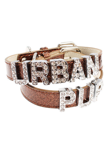Glitter Brown Leather Personalised Dog Collar