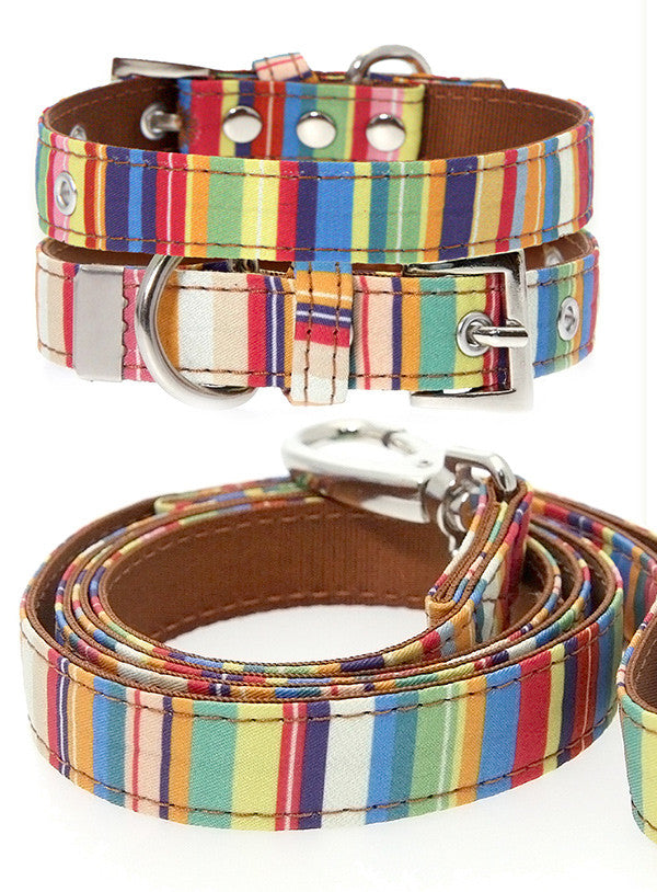 Henley Striped Fabric Collar & Lead Set