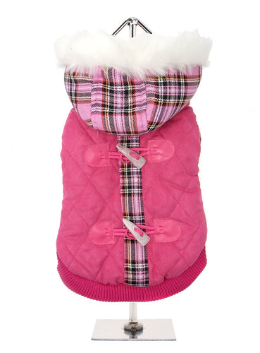 Highland Lady quilted tartan coat with detachable hood will keep the heat in and the cold out